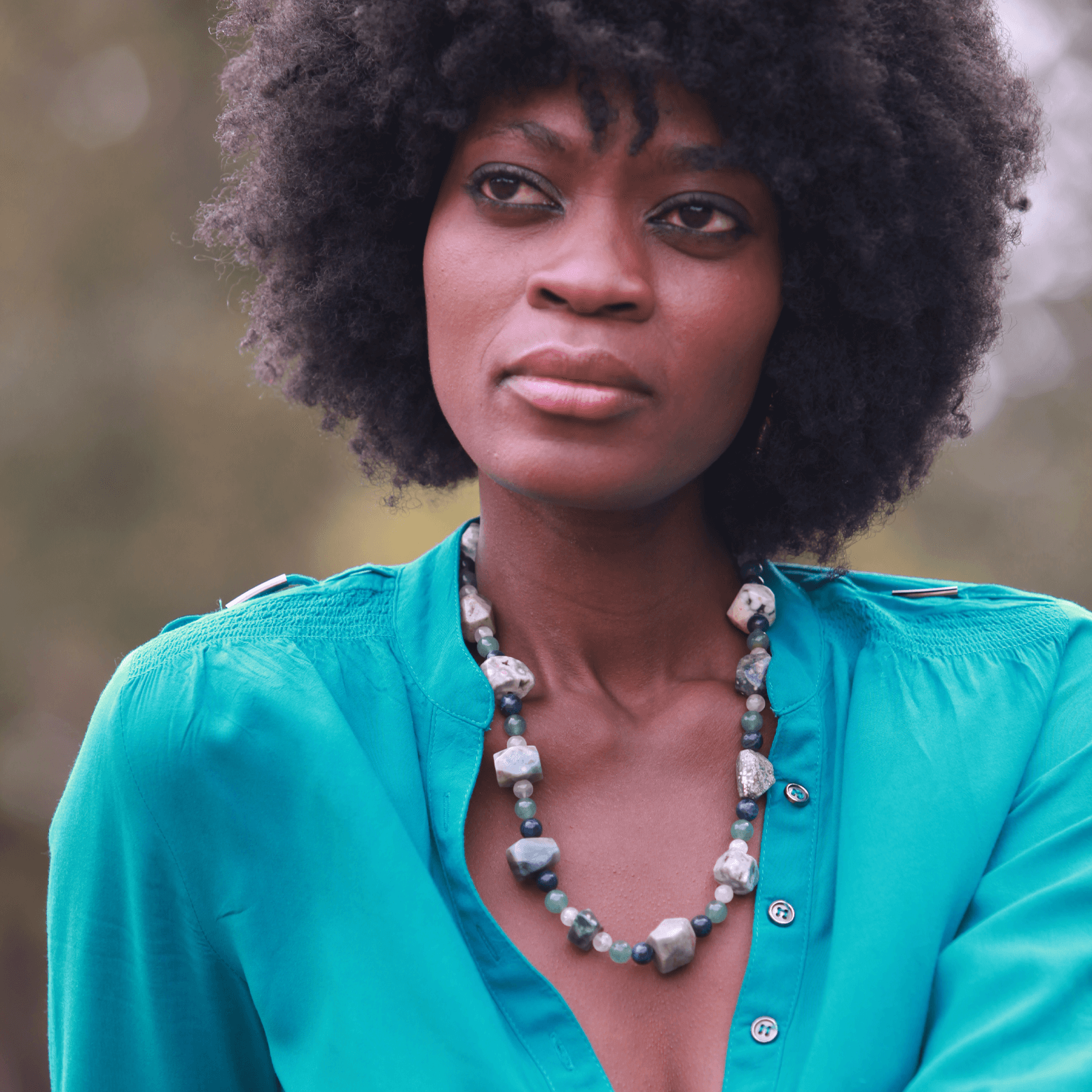 Beads, black model, beautiful african woman, necklace, product photography